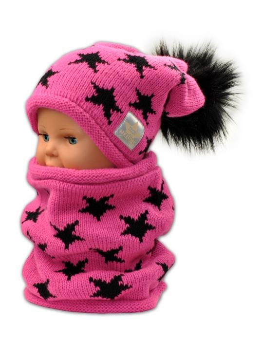 Podzimní zimní čepice s komínkem - malinová - hvězdičky černé. Obrázek 51a3662f83