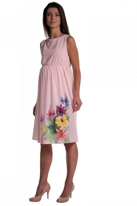 Těhotenské šaty bez rukávů s potiskem květin - růžová af46aabbd4