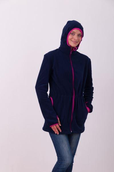 8996f9bc96d Nosící fleece mikina s kapucí - pouze přední nošení - tm. modrá ...