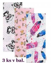 3 ks Kvalitní bavlněné plenky Baby Nellys s potiskem, Tetra LUX 70x80cm, Holka - různé