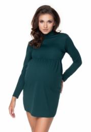 Be MaaMaa Těhotenské mini šaty/tunika se stojáčkem - zelené