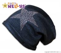 Bavlněná čepička Baby Nellys ® - Hvězdička stříbrná