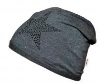 Bavlněná čepička Baby Nellys ® - Hvězdička černá