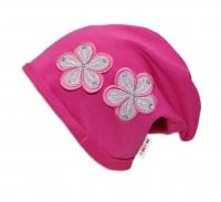 Bavlněná čepička Květinky Baby Nellys ® - tm. růžová