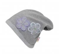 Bavlněná čepička Květinky Baby Nellys ® - šedé/fialové květinky