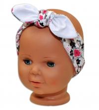Baby Nellys Čelenka, šátek na zavazování uzlík, uni - bílá s květinkami
