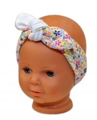 Baby Nellys Čelenka, šátek na zavazování uzlík, uni - bílá s barevnými kytičkami