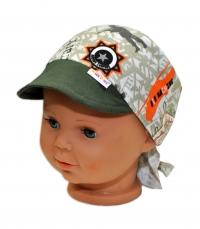 Baby Nellys Šátek na zavazování s kšiltem, vel. 44-46 - Army