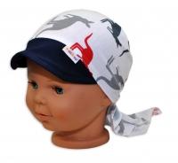 Baby Nellys Šátek na zavazování s kšiltem, vel. 44-46 - Klokani