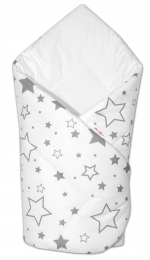Baby Nellys Novorozenecká rychlozavinovačka Klasik - Šedé hvězdy a hvězdičky - bílá