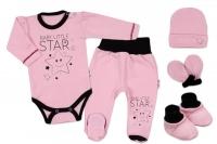 Baby Nellys 5-ti dílná soupravička do porodnice Baby Little Star - růžová, K19