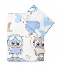 Baby Nellys 2-dílné bavlněné povlečení Cute Owls - modré