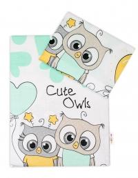 Baby Nellys 2-dílné bavlněné povlečení Cute Owls - zelené