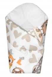 Baby Nellys  Novorozenecká zavinovačka Cute Owls - béžová