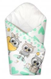 Baby Nellys  Novorozenecká zavinovačka Cute Owls - zelená