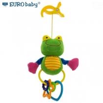 Plyšová hračka s klipsem a chrastítkem  - Žabička