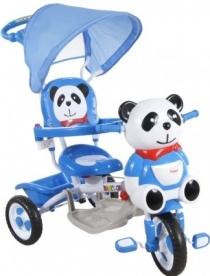 Tříkolka s vodící tyčí Panda - modrá