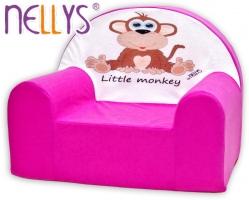 Dětské křesílko/pohovečka Nellys ® - Opička Nellys růžová