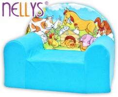 Dětské křesílko/pohovečka Nellys ® - Farma v modrém