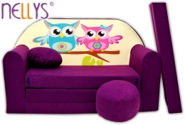 Rozkládací dětská pohovka Nellys ® Sovičky - fialové