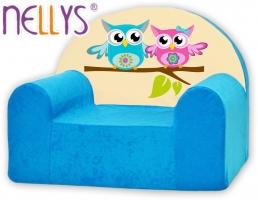 Dětské křesílko/pohovečka Nellys ® - Sovičky Nellys modré