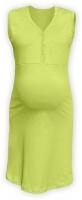 Těhotenská, kojící noční košile PAVLA bez rukávu - hráškově zelená
