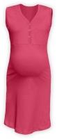 Těhotenská, kojící noční košile PAVLA bez rukávu - lososově růžové