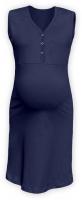 Těhotenská, kojící noční košile PAVLA bez rukávu - tm. modrá