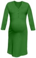 Těhotenská, kojící noční košile PAVLA 3/4 - zelená