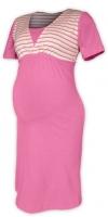Těhotenská-kojící noční košile - růžová/růžový proužek