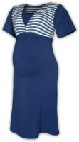 Těhotenská-kojící noční košile - jeans/námořnický proužek