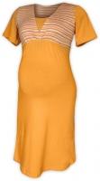 Těhotenská-kojící noční košile - sv.oranž/oranž proužek