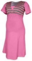 Těhotenská-kojící noční košile - růžová/šedý proužek