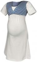 Těhotenská-kojící noční košile - smetanová/námořnický proužek