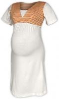 Těhotenská-kojící noční košile - smetanová/oranž proužek