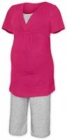Těhotenské-kojící pyžamo - sytě růžová/šedý melír