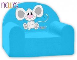 Dětské křesílko/pohovečka Nellys ® - Myška v modrém