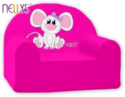 Dětské křesílko/pohovečka Nellys ® - Myška v růžové