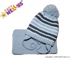 Zimní pletená čepička se šálou - pruhovaná šedá