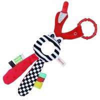 Edukační hračka Hencz  s chrastítkem  - Zajíček - zrcátko -červený