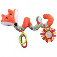 Edukační hračka Hencz s chrastítkem a zrcátkem  - LIŠKA - spirálka -oranžová