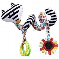 Edukační hračka Hencz s chrastítkem a zrcátkem  - LIŠKA - spirálka -bílo-černá