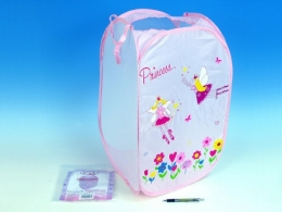 Koš na hračky Princess růžový 36x36x58cm polyester