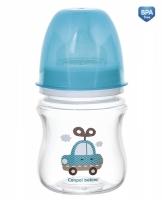 Antikoliková lahvička se širokým hrdlem Canpol Babies Easy Start - TOYS 120 ml - modrá