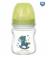 Antikoliková lahvička se širokým hrdlem Canpol Babies Easy Start - TOYS 120 ml - zelená