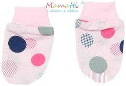 Kojenecké rukavičky Mamatti - ELEPHANT - růžové/barevné puntíky
