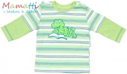 Tričko dlouhý rukáv Mamatti - FROG - zelené/ zelené proužky