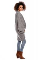 Delší svetřík/pončo ELEN - šedý