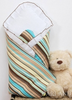 Krásná zavinovačka s volánkem - Medvídek se srdíčkem proužek hnědý