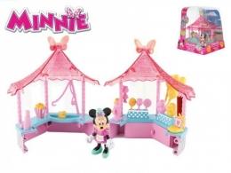 Minnie stánek cukrovinky 14x14cm plast s kloubovou figurkou 8cm a doplňky 17ks v krab